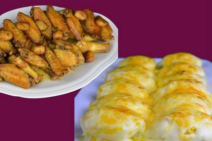 Pollo al ajillo y huevos gratinados rellenos de atún. Programa nº 153