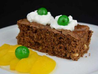 Brownie de chocolate con melocotón en almíbar. Programa nº 145