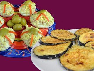 Huevos rellenos de marisco y berenjenas fritas crujientes. Programa nº 160