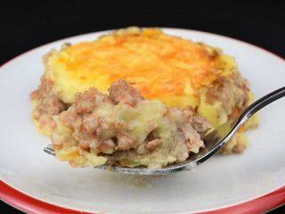 Pastel de carne con pure de patatas gratinado. Programa nº 6